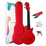 "Enya Concert Ukulele AcousticPlus Nova U/RD EQ 23"" Cutaway Carbon Fiber Beginner Travel Ukulele Kit with Case, Strap, Capo, Strings (Red)"