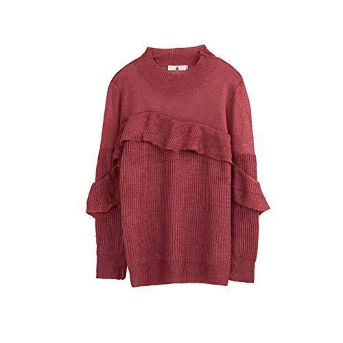 YANGPANGZI Otoño Nuevo suéter de Mujer de Talla Grande más Blusa con Volantes Gruesos