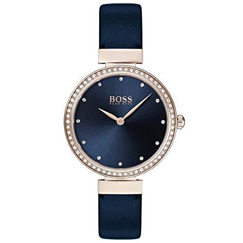 Hugo Boss Damen Analog Quarz Armbanduhr mit Lederarmband
