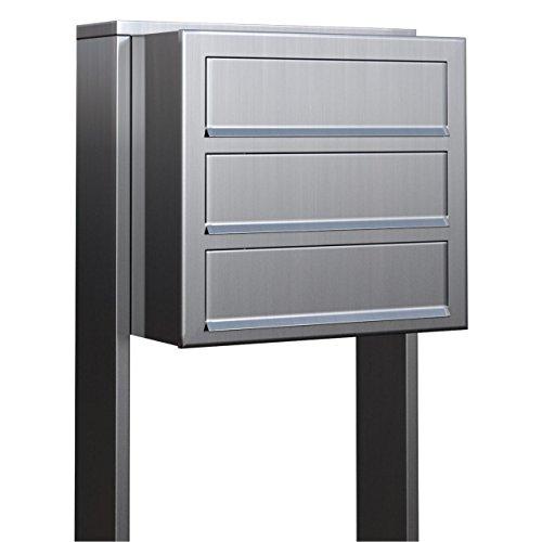 Briefkastenanlage, Design Briefkasten Cube for Three Edelstahl - Bravios