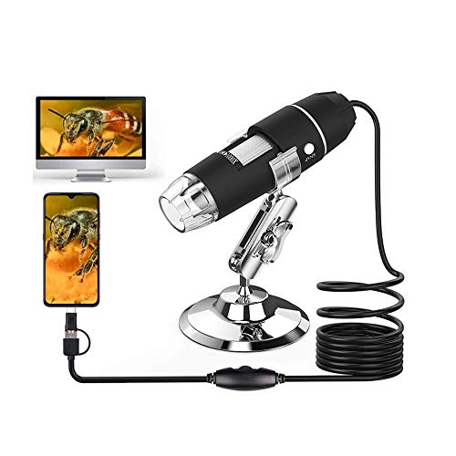 50 to 1000x Magnification Endoscope, 8 LED USB 2.0 Digital Microscope, Mini Camera with OTG Adapter and Metal Stand, Compatible with Window 7 8 10 Android Linux