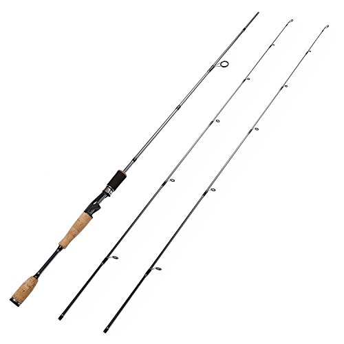 Entsport Nostalgia 2-Piece Spinning Rod Graphite Portable Spinning Fishing Rod with 2 Different Top Pieces Inshore Spinning Pole Freshwater Spin Rod (Spinning Rod with 2 Top Pieces, 7-Feet)