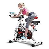 HARISON Bicicleta de ejercicio para interior de bicicleta estática de 15,88 kg de volante para el hogar, entrenamiento cardiovascular, con asiento cómodo con monitor digital