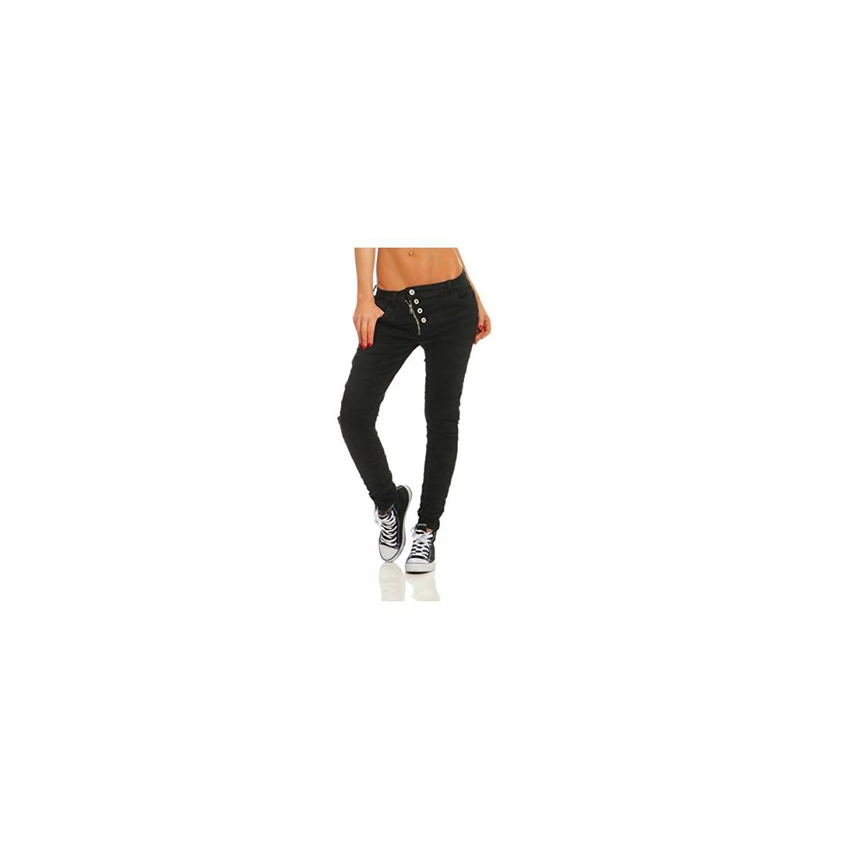 Fashion4Young 11105 Damen Jeans Hose Boyfriend Baggy Haremsjeans