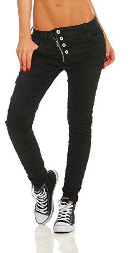 Fashion4Young 11105 Damen Jeans Hose Boyfriend Baggy Haremsjeans Slim-fit Röhre Damenjeans Pants (schwarz, M-38)