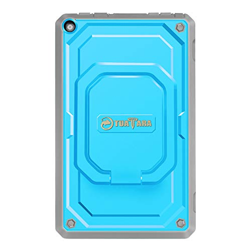 Fintie Shockproof Case for Amazon Fire HD 8 Tablets (7th and 8th Generation, 2017 and 2018 Releases) - [Tuatara Magic Ring] [360 Rotating] Multi-Functional Grip Stand Carry Cover, Blue