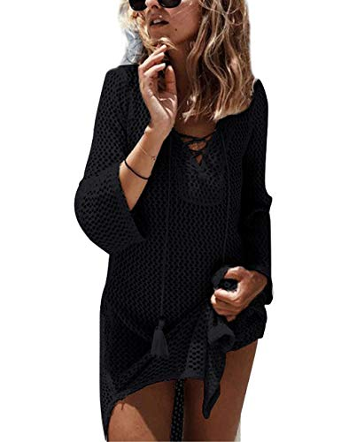 Mujer Pareos Elegante Boho Encaje Crochet Bikini Cubrir Cover Up Blanco Ganchillo Hueco Playa Vestido Pareos Traje De Baño (Negro B)