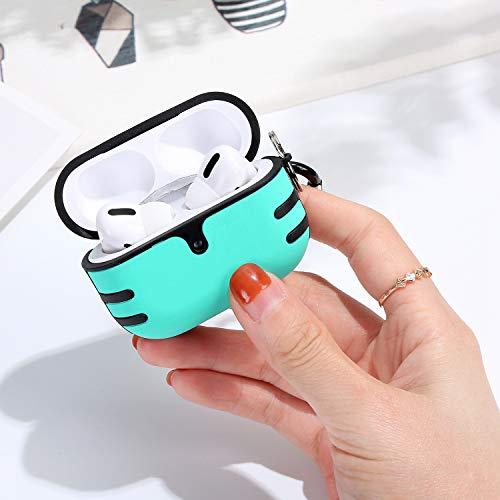 Ysimee Coque Compatible avec Apple AirPods Pro,Étui pour AirPods Pro PC Plastique + TPU Silicone Hybrid Housse Protecteur Anti-Rayures Absorption de Choc Case [avec Mousqueton],Bleu Clair