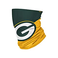 All-over printed, team color design with bold team logo display Made by FOCO Multifunctional, can be utilized as a neck gaiter, wristband, headband, and ponytail holder