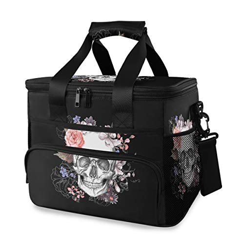 ALAZA Sugar Skull Floral The Day of Dead Large Cooler Insulated Picnic Bag Lunch Box for Adult Men Women