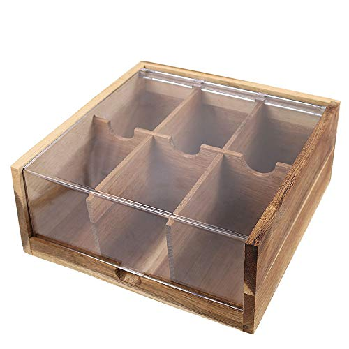 Acacia Wood Tea Bag Organizer Storage, 6 Compartments Tea Chest Box with Acrylic Transparent Hinged Lid By HTB
