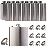 10 pcs Hip Flask for Liquor Matte Silver 6 Oz Stainless Steel Leakproof with 10 pcs Funnel for Gift, Camping, Wedding Party