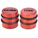 Guitar Volume Knob, RiToEasysports 2Pcs 1T1V Electric Guitar Bass Top Hat Knobs Wooden Maple Wood