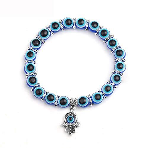 KKVK Einfache Evil Eye Hand religiösen Charme Blaue perlen Glück Armband Beste Übereinstimmung Armband für Frauen B One Size
