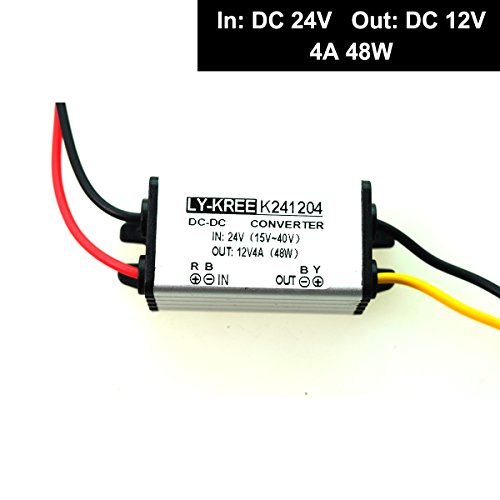 Convertisseur réducteur régulateur de tension DC 24 V vers 12 V 4 A 48 W pour voiture, camion, véhicule, bateau, système solaire, etc. (accepte les entrées DC15–40 V)