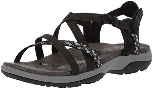 Skechers Cali Women's Regga Slim Keep Close Gladiator Sandal,black,8 M US, Black, 8 M US