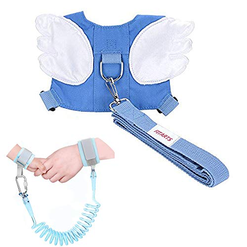 Baby Safety Walking Harness-Child Toddler Anti-Lost Belt Harness Reins with Leash Kids Assistant Strap Angel Wings Travel Haress for 1-3 Years Boys and Girls (Blue)