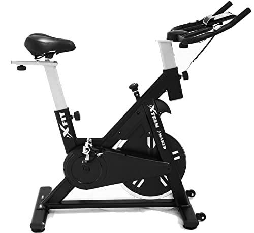 XTREM MAKER Bicicleta Spinning Estática de Fitness XBIKE PLUS con Pantalla LCD, Asiento y Sillín Ajustables. Silenciosa, Resistencia Regulable. Volante Inercia 16 kg, Soporte Móvil y Tableta