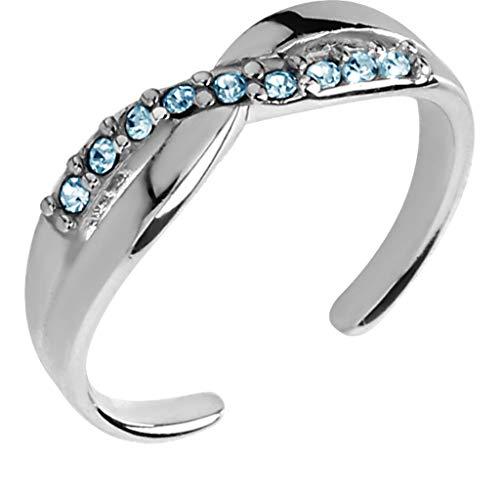 Ani's Anillo redondo de 0,7 quilates con piedras preciosas azules y diamantes ajustables en oro blanco de 14 quilates chapado en plata