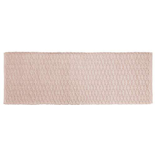 mDesign Soft 100% Cotton Luxury Hotel-Style Rectangular Spa Mat Rug, Plush Water Absorbent, Diamond Design - for Bathroom Vanity, Bathtub/Shower, Machine Washable - Long Runner, 60' x 21' - Light Pink