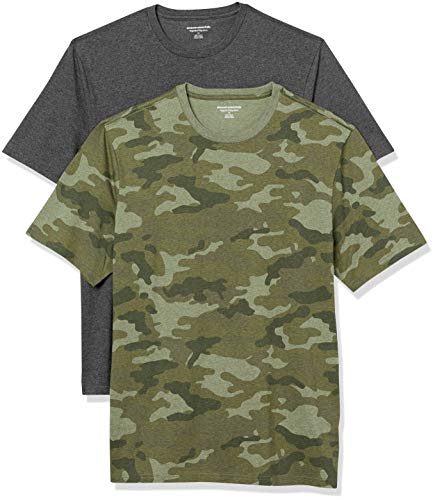 Amazon Essentials 2-Pack Crewneck T-Shirts Undershirts, Camuflaje Verde/Charcoal Heather, M, Pack de 2