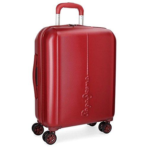 Pepe Jeans Cambridge Maleta de cabina Rojo 55x20x39,5 cms Rígida Cierre TSA 37L 2,8Kgs 4 Ruedas dobles Equipaje de Mano