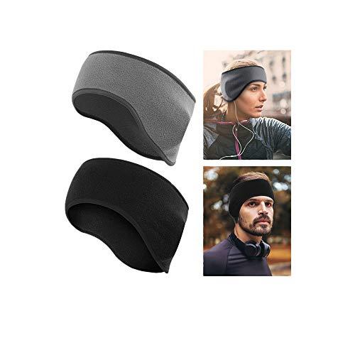 LATTCURE Stirnbänder Sport Ohrenwärmer Dehnbar, 2pcs Winter Stirnband für Damen,Herren,Mädchen,Thermal Schweißband Stirnband Anti Rutsch für Jogging Skifahren außerhalb des Sports (Schwarz + Grau)