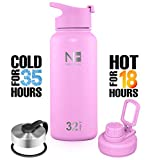 Nature Flask - Water Bottle Stainless Steel, Vacuum Insulated Water Bottle, Insulated Water Bottle, 3 Bonus Lids Wide Mouth, Double Walled, Simple Thermo Modern Travel Hydro Mug (Malibu, 32 Ounce)