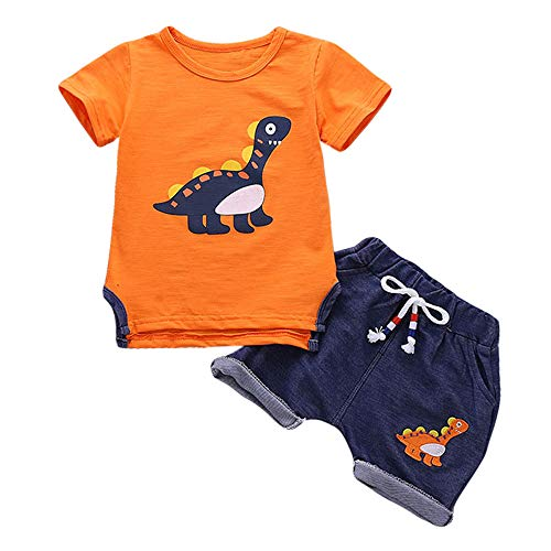 Baby Boy Summer Soft Clothes Short Sleeve Top Denim Shorts Outfits Nice Suit