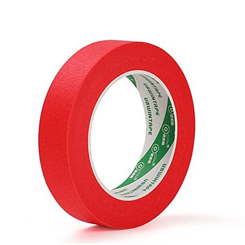 MOGADEE Cinta de papel crepé, cinta adhesiva de pintor para manualidades, cinta de carrocero automotriz, rótulos, decoración (25 mm × 50 m rojo)
