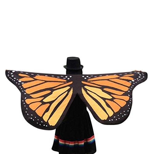 Juguetes Disfraz de Danza Mujer Disfraz para Mujer Niños Niñas Señoras Mariposa alas Chal Bufandas Hada Accesorio de Disfraces de Damas NINFA Pixie Disfraz Halloween Fiesta (Amarillo)
