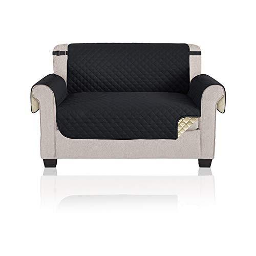 YuuHeeER 1 funda de sofá de 2 plazas, protector elástico para perros, 116 x 190 cm, color negro