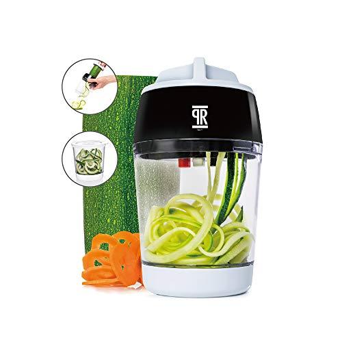 ReggioProducts Affetta Verdure Professionale Manuale da Cucina Affettatrice A Tre Lame Regolabili Multifunzione Grattugia E Spiralizer con Contenitore Utensile Facile da Lavare A Mano,lavastoviglie