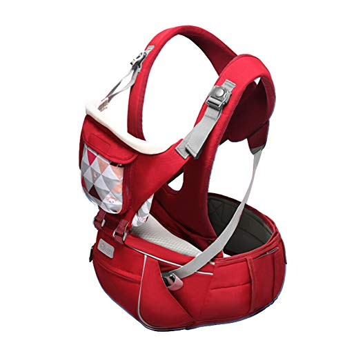 360° Ergonomic Baby Carrier Hip Seat 3-36 Months - Babies Up to 15kg - All Season Baby Sling - 3 Position, Storage Pockets, One Size Fits All - Adapt to Newborn,Red