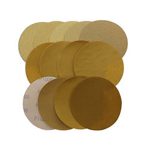 Buy Bargain Xucus 5 Inch 125mm Dry Round Sanding Paper Yellow Polished Flocking Sandpaper 40-1000 Gr...