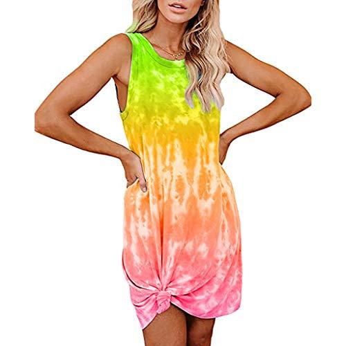 URIBAKY Tie-dye Drucken T Shirt Kleider Damen Ärmellos Elegant Schöne Tunika Kleider,Sommerkleider Kurz Mode Minikleider Casual Abendkleid