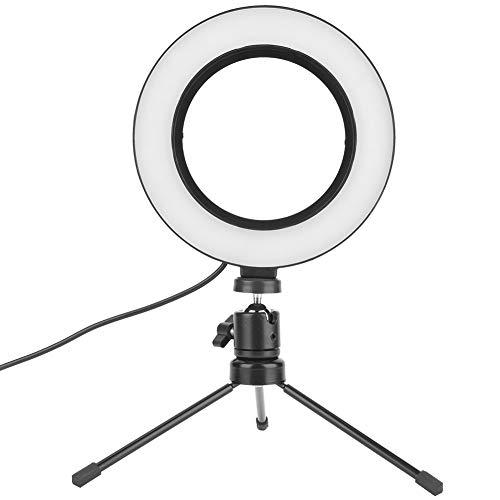 Anillo de luz LED para cámara de 6 pulgadas, luz de anillo para fotografía, luz de vídeo LED regulable para streaming, YouTube Video, fotos, fotografía, selfie con trípode de escritorio