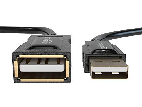 Amazon Basics - PC-Lautsprecher mit dynamischem Sound, USB-Betrieb, Schwarz, 1 Paar & 1IGG USB 2.0-Verlängerungskabel A-Stecker auf A-Buchse, 2 m,Schwarz