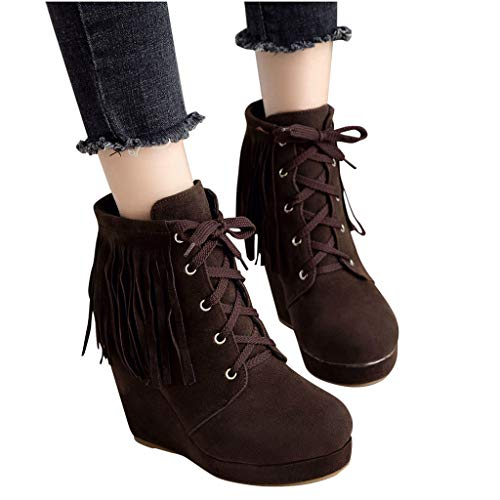 New Dainzuy Womens Wedge Boots Classic Casual Outdoor Round Toe Lace-Up Tassel High Heels Booties Sh...