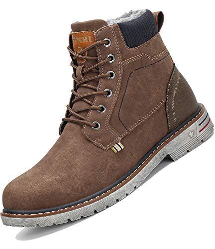Botas de Nieve Hombre Antideslizante Invierno Botines Calientes Trekking Aire Libre Zapatos Marrón 41
