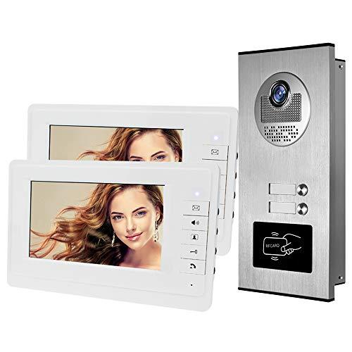 HFeng 7 '' video color puerta de intercomunicación Sistema de teléfono 700TVL RFID Acceso Cámara de entrada con timbre IR Visión nocturna para 2 Apartamentos / Familia / Hogar 100 metros