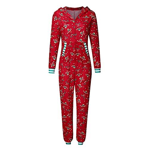 Hengyouhui Familien Schlafanzug Jumpsuit Hoodie mit Kapuze Schlafanzüge Overall Hausanzug Weihnachts One Piece Overall Nachtwäsche