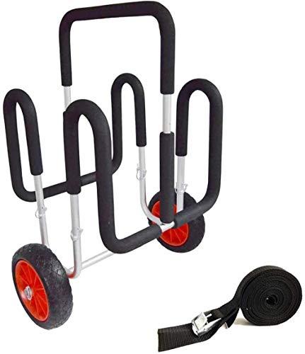 Carro De Remo Doble Stand Up, hasta 100 KG, con Correas De Carro De Surf, Carro De Aluminio Carro De Transporte para Sup Stand Up Paddle Transporte De Tablas De Surf Carros De Kayak
