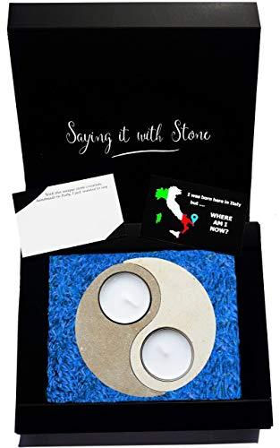 Muttertag Yin Yang Teelicht Kerzenhalter aus Stein - Symbol der Harmonie und Balance - Handgemacht in Italien - Box, Teelicht Kerze und Nachrichtenkarte enthalten - Originelle idee