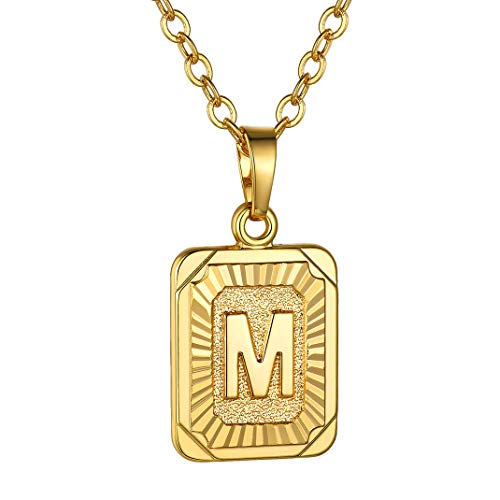 GoldChic Color Oro Letra M Collar Mujer Hombre Colgante Fino Iniciales M Medalla Cuadrada