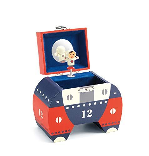 Djeco Spieldose Polo 12 Astronaut Schatulle Schatzkästchen mit Spieluhr Rot Blau Weiß