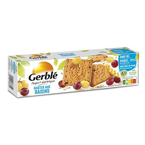 Gerblé Teneur réduite, Goûter aux Raisins, Biscuits allégés en sucre et sans sel, 20 biscuits, 360 g, 178781