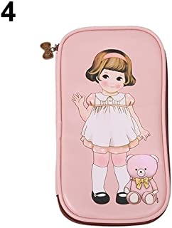 Sanwooden Creative and Fashionable Women Cute Cartoon Doll Girl Pattern Pen Pencil Case Bag Cosmetic Makeup Bag - Pink