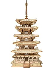 ROBOTIME DIY 5 pisos Pagoda 3D Puzzle madera Craft Kits Mechancial Modelo Construcción Kits El mejor regalo para adolescentes y adultos