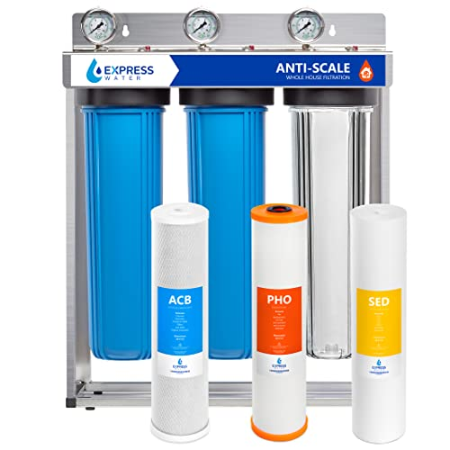 Express Water Whole House Water Filter, 3 Stage Home Water Filtration System, Sediment, Polyphosphate Anti-Scale, Carbon Filters Includes Pressure Gauges, Easy Release, and 1 Inch Connections